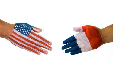 America France handshake