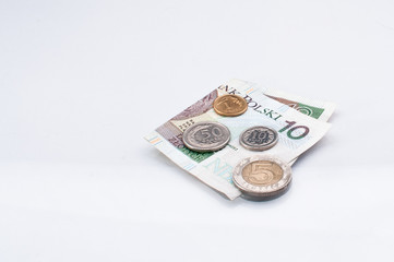 Polish money- ten zloty note and some coins