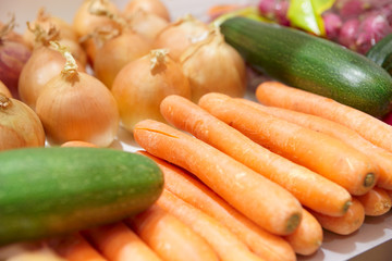 Vegetables on supermarket display