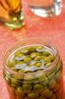 Preserved green peas in jar