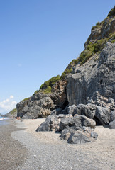 Charming nudist beach close to a spur along Camerota coast,Italy