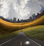 Fototapety Idea bulb and city road