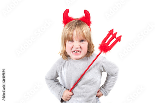 child naughty devil halloween