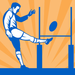 rugby player kicking goal post