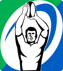 rugby player line-out throw front