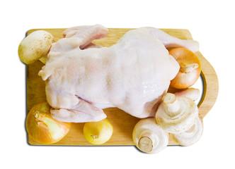 Raw chicken with mushrooms