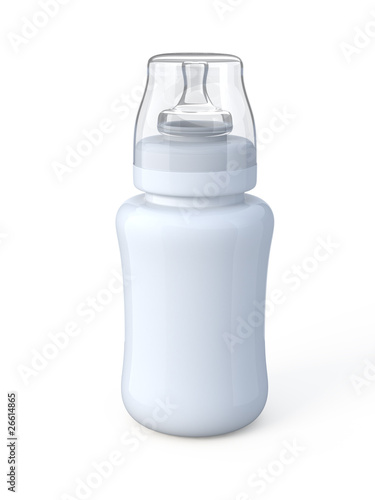 Blank baby bottle isolated on white.