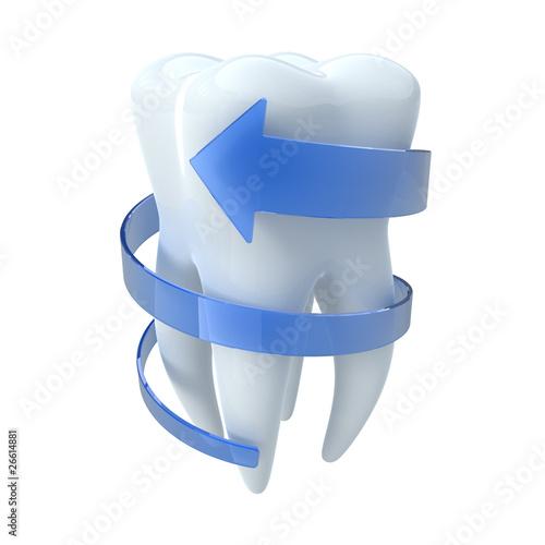 Ząb z niebieską strzałką