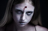 portrait of zombie with wound on forehead poster