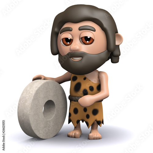 3d Caveman shows off his latest invention