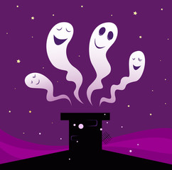 Happy Halloween ghosts flying around black chimney. VECTOR