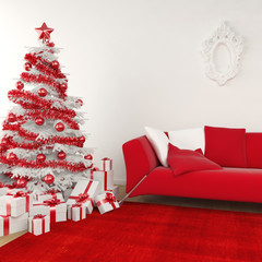 christmas interior in white and red