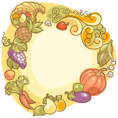 colorful harvest frame with space for text