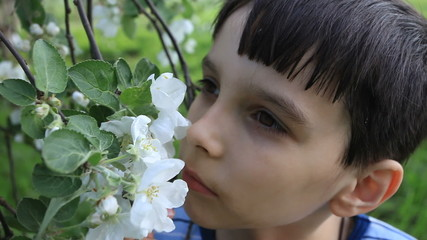 boy smells flowers