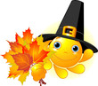 Sun with pilgrim hat holding autumn leaves