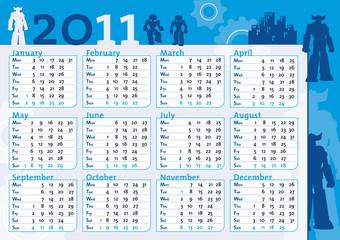 calendario 2011 blu da ragazzo con robot