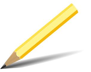 Matita gialla con ombra su bianco