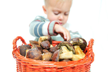 Little cute boy with a basket of mushrooms. Focus on the basket