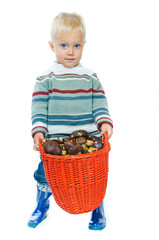 Boy with a basket of mushrooms