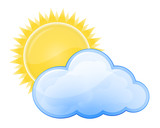 Weather forecast glossy icon - Cloudy poster