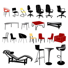 chair and table vector collection