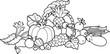 Back and White Cornucopia Illustration
