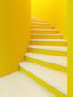 Leinwanddruck Bild - spiral wooden staircase,