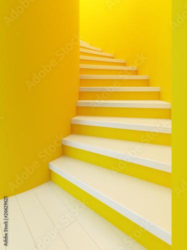 Leinwanddruck Bild spiral wooden staircase,
