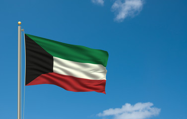 Flag of Kuwait waving in the wind in front of blue sky