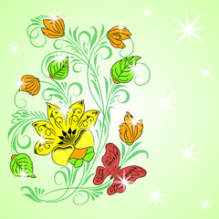 Colored floral background with small stars