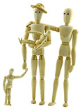 famille pantins bois, mannequins atelier beaux arts poster