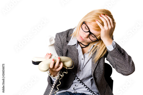 businesswoman with three phones