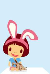 Rabbit girl postcard