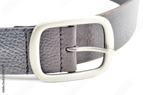 black leather belt with a silver buckle