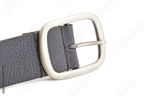 black leather belt isolated