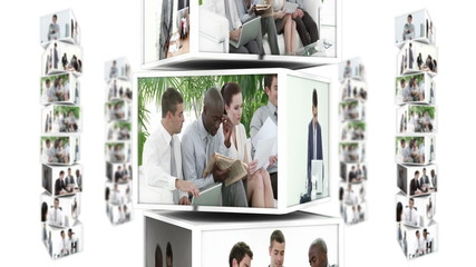 Column scrolling down showing montage of businesspeople at work