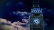 Animation of Big ben at night with moving clouds onbackground