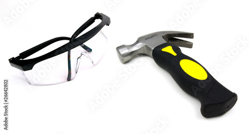 hammer and safety glasses