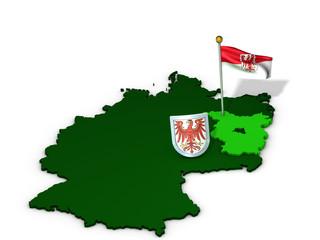 Bundesland Brandenburg mit Landesflagge und Wappen