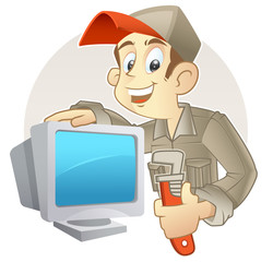 technician holding monkey wrench and PC monitor