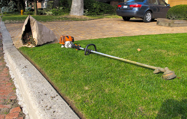 grass trimmer and sac of garden waste