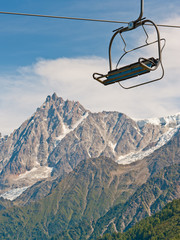 Cable car elevator in French Alps, Chamonix valley