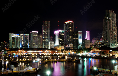 Skyline of downtown Miami at night