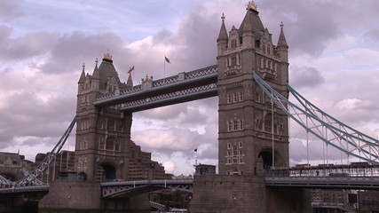 Below view from a boat of London Bridge