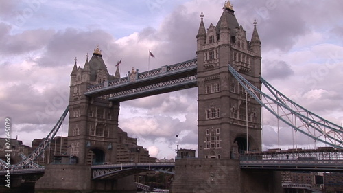 Below view from a boat of London Bridge