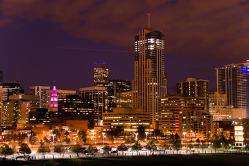 Denver downtown in night