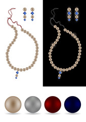 Pearl necklace, earrings and four separate pearls