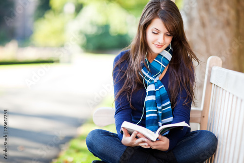 Mixed race ollege student studying