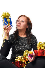 Woman with gift over white