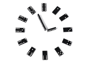 Dominoes clock isolated on white background
